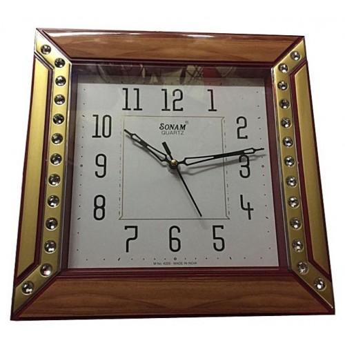 Quartz Medium Wall Clock Square (29 cm x 29 cm) Sonam - Brown &  Gold|kitchenthirtyseven|sokokenya